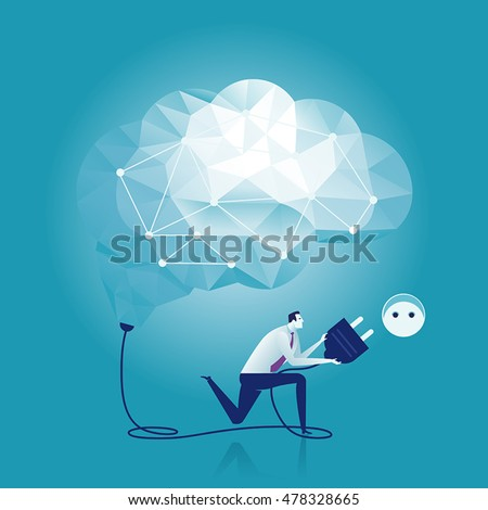 Connection. Businessman switching on a brain. Business concept vector illustration.