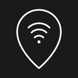 Connection, free wifi, pin icon vector image. Can also be used for Maps and Location. Suitable for use on web apps, mobile apps and print media.