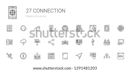 connection icons set. Collection of connection with smartphone, cursor, tablet, web, remote control, bluetooth, satellite, usb, news, share. Editable and scalable connection icons.