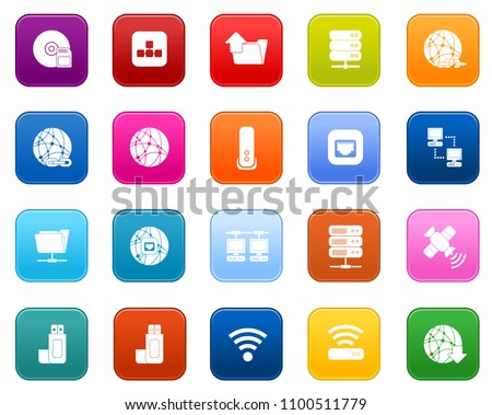 Connection Icons set, network symbols - vector internet technology
