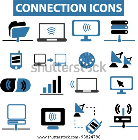 connection icons set, vector illustrations