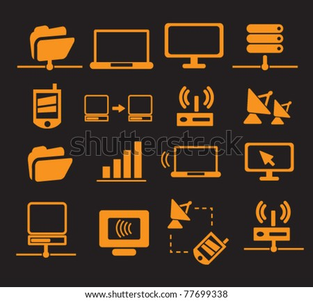 connection & network icons, vector