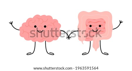 Connection of cute healthy happy brain and intestine gut characters. Relation health of human brain and gut, second brain. Unity of mental and digestive. Vector flat cartoon illustration