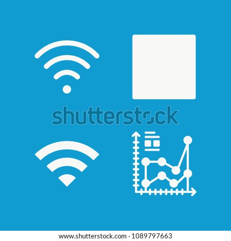 Connection related set of 4 icons such as wifi, rss