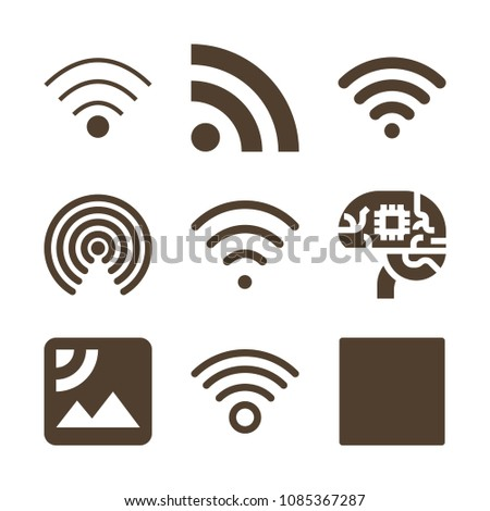 Connection related set of 9 icons such as wifi signal, wifi, wireless internet, rss, wirelss connection, rss feed