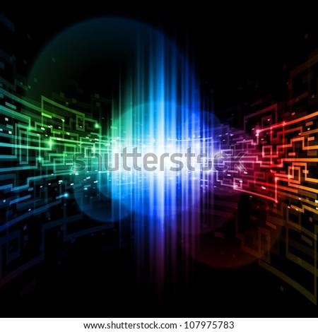 Connection space. Illustration for design on black background