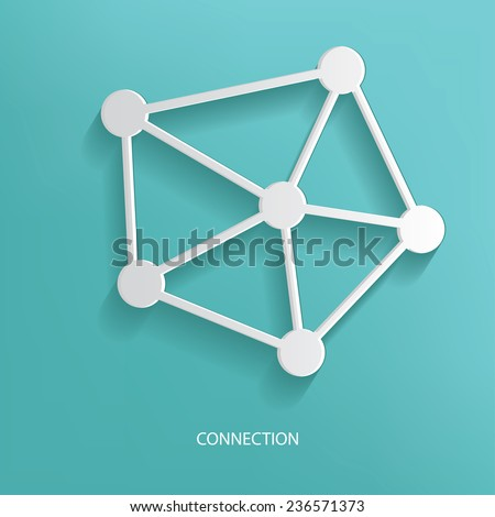 connection symbol on blue