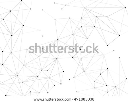 Connections background, triangles with dots on vertexes, dots connected  lines