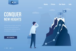 Conquer new heights landing page template. Goal flag with cup on peak mountain. Skills  improvement concept. Businessman look at high mountain. Startup, successful business. Flat Vector illustration