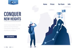 Conquer new heights landing page template. Goal flag with cup on peak mountain. Skills  improvement concept. Business woman looking at high mountain. Startup, successful business. Vector illustration