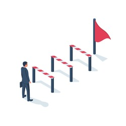 Conquering adversity. Hurdle on way concept. Businessman obstacle metaphor. Overcoming obstacle on road. Barrier on way to success. Vector illustration isometric 3d design. Isolated white background.
