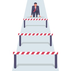 Conquering adversity. Hurdle on way concept. Businessman obstacle metaphor. Overcoming obstacle on road. Barrier on way to success. Vector illustration cartoon design. Isolated white background.