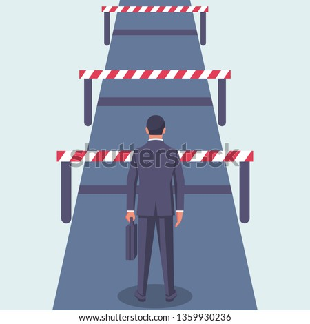 Conquering adversity. Hurdle on way concept. Businessman obstacle metaphor. Overcoming obstacle on road. Vector illustration flat design. Barrier on way to success. Vector illustration flat design.