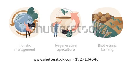 Conservation and rehabilitation farming system abstract concept vector illustration set. Holistic management, regenerative agriculture, biodynamic farming, ecological biodiversity abstract metaphor. Foto stock ©
