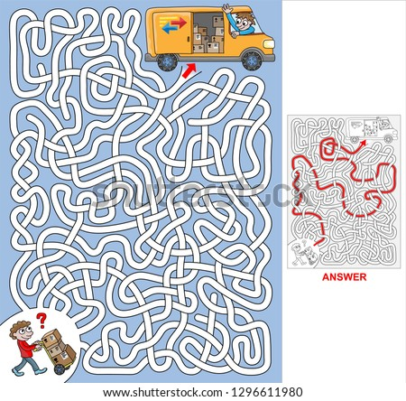 Consignments. Find a correct path to the van. Vector illustration of labyrinth, maze with entry and exit. Only one way is leading to the finish, other paths are dead ends. Labyrinth for kids.