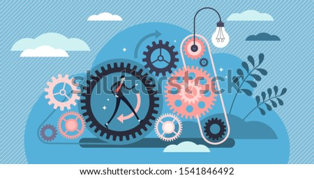 Consistent work vector illustration.  Logically action pattern visualization with gear connection circle. Employee energy focus in company business