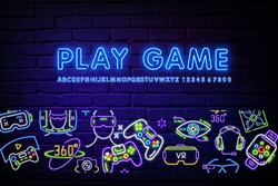 Console community neon banner in style. Game icons, Gamepad on a brick background. Video games, game club, leisure. Can be used for advertising, street wall signage, web design