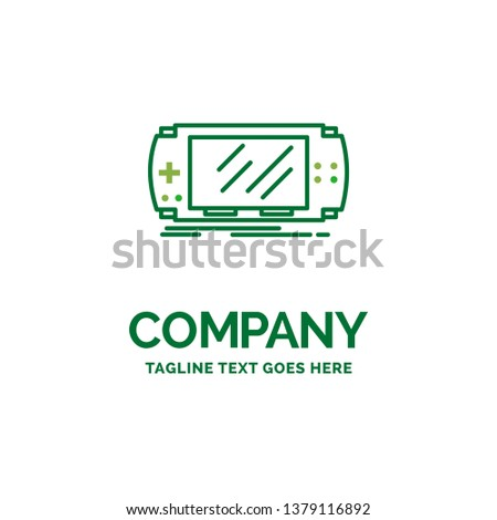 Console, device, game, gaming, Flat Business Logo template. Creative Green Brand Name Design.