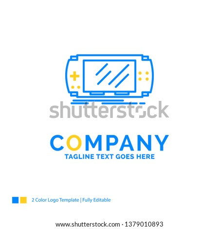Console, device, game, gaming, psp Blue Yellow Business Logo template. Creative Design Template Place for Tagline.