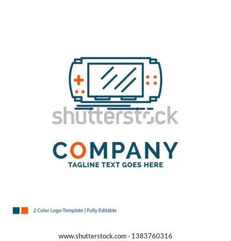 Console, device, game, gaming, psp Logo Design. Blue and Orange Brand Name Design. Place for Tagline. Business Logo template.