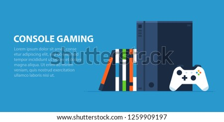Console gaming illustration in flat style. Modern console, wireless gamepad, a collection of video games.