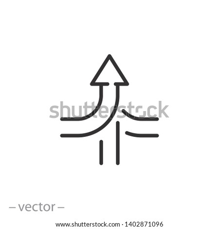 consolidate icon, join, merge or converge arrows line symbol on white background - editable stroke vector illustration eps10
