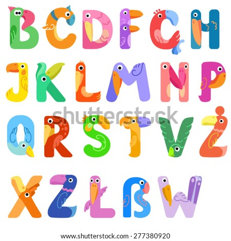 Consonants of the Latin alphabet like different birds / There are vowels of the Latin alphabet with eyes, beaks, and wings. The letters belong to English, Polish and German alphabet
