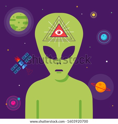 conspiracy of masons and aliens against the background of space. telepathic communication with extraterrestrial intelligence. Flat character vector illustration.