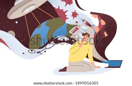 Conspiracy theories concept. Flow of disinformation and false ideas about coronavirus and covert plans of aliens. Concerned man at laptop. Colored flat vector illustration isolated on white background ストックフォト ©