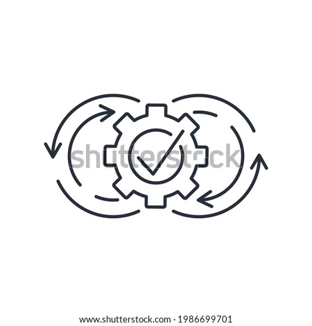Constant changes. A continuous stream of improvements and updates. Integration adaptation system. Vector linear icon isolated on white background. Foto stock ©