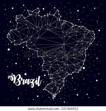 constellation. Brazil maps, vector