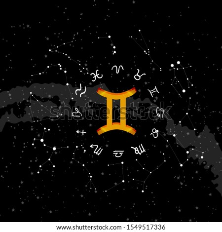 constellation Gemini of the zodiac. Zodiac signs set of illustrations on the background of a starry sky. constellation was his symbol and the name