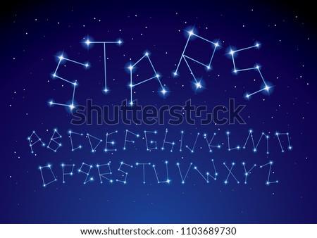 constellation/ stars typography design vector