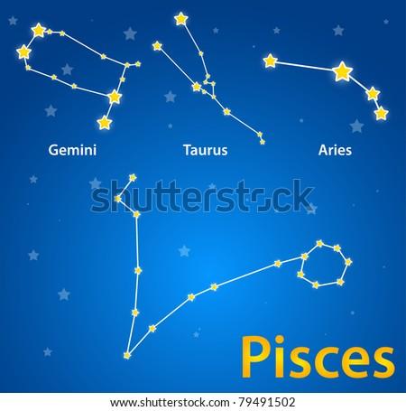 Constellations of signs of zodiac. Pisces, gemini, taurus, aries