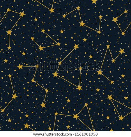 stock-vector-constellations-on-dark-starry-sky-vector-seamless-pattern-winter-christmas-holiday-background
