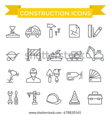 Constriction icon set, thin line design