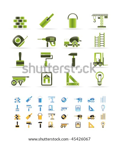 Construction and Building icons - vector Icon Set  - 3 colors included