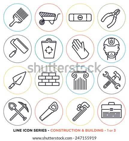 Construction and building line icons set.