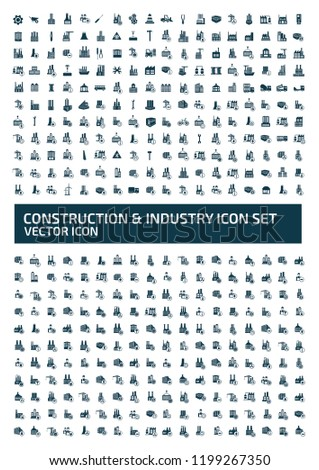 construction and industry vector icon set