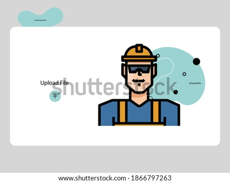 construction avatars lineal color style icon set design of Person social communication human user partnership member and figure theme Vector illustration Photo stock ©
