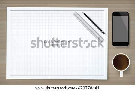 House blueprint and pencil download free vector art stock construction background of blueprint paper and grid lines with pencil ruler smartphone and coffee malvernweather Choice Image