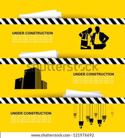 Construction banners - vector illustration - stock vector