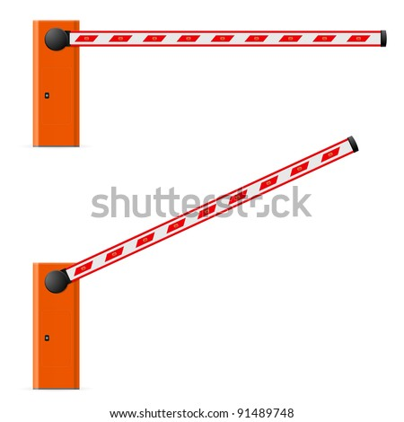 Construction barricade - road block. Illustration on white background. Third edition