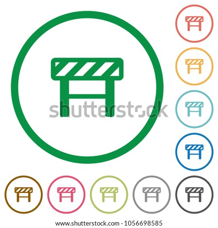 Construction barrier flat color icons in round outlines on white background