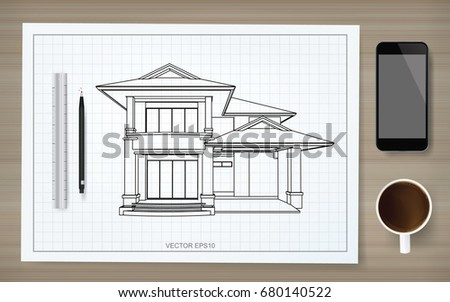 House blueprint and pencil download free vector art stock construction blueprint background of house wireframe on paper with pencil ruler smartphone and coffee malvernweather Gallery