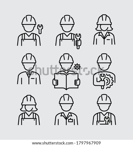 Construction Builder Worker Engineer Avatar Vector Line Icons