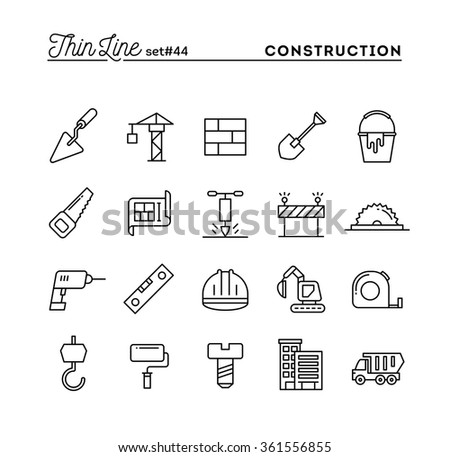 Construction, building, project, tools and more, thin line icons set, vector illustration