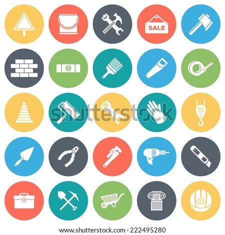 Construction, building round vector icons collection in pastel colors.