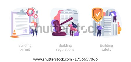 Construction business abstract concept vector illustration set. Building permit regulations and safety, contractor service, construction site, engineering project, application form abstract metaphor.