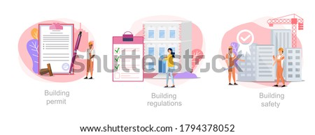 Construction business vector illustration. Set of construction processes: building permit, building regulations, building safety.